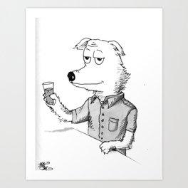 Beer Dog Art Print