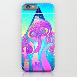 Magic Mushrooms over Sacred Geometry iPhone Case