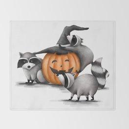 Raccoons and Jack-O-Lanterns Throw Blanket