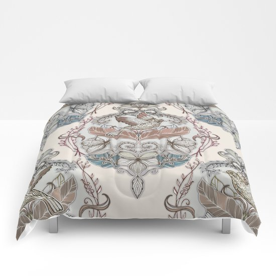 Woodland Birds - hand drawn vintage illustration pattern in neutral colors Comforters