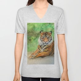 Tiger at rest Unisex V-Neck