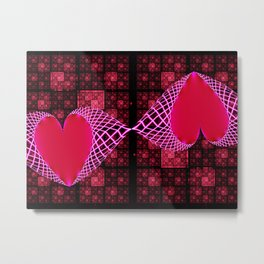Fractal Art- Heart Art- Red Art, Black Art-Pink Art-Pink Hearts- Kissez Metal Print