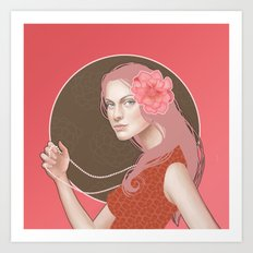 Girl Holding a Pearl Necklace Art Print