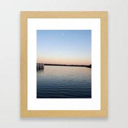 Boathouses at Sunset Framed Art Print