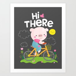 Pig on a bike Art Print