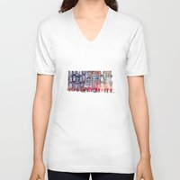takmaj V-neck T-shirts featuring Apartment House in Poznan and orange umbrellas by takmaj