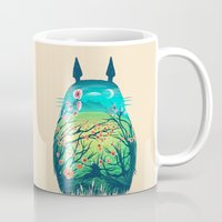 hayao miyazaki Mugs featuring He Is My Neighbor by Victor Vercesi