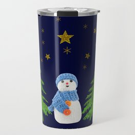 Sparkly gold stars, snowman and green tree Travel Mug