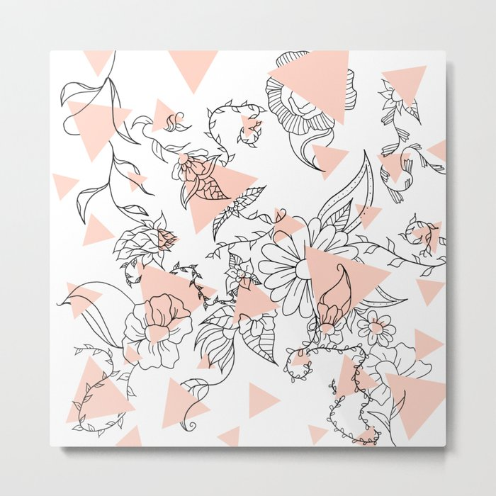 Modern hand drawn floral black illustration abstract blush pink geometric triangles Metal Print