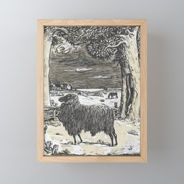 Sheep in a landscape , Richard Roland Holst, 1878 Framed Mini Art Print