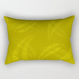 Pattern of yellow and orange feathers and leaves on an olive Rectangular Pillow