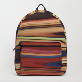 Abstract: Blue Red Beige Zigzag Backpack