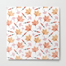 Watercolor background with maple leaves, mushrooms, red flowers Metal Print