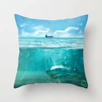 kpop Throw Pillows featuring Blue by SensualPatterns