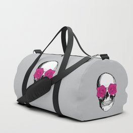 Skull and Roses | Grey and Pink Duffle Bag