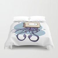 jelly fish Duvet Covers featuring Peanut butter jelly fish by welldunn