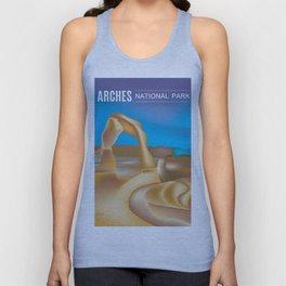 Arches National Park, Utah - Skyline Illustration by Loose Petals Unisex Tank Top