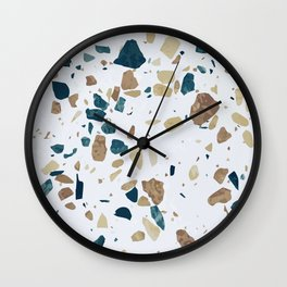 TERRAZZO ABSTRACT BLUE YELLOW ORANGE Wall Clock