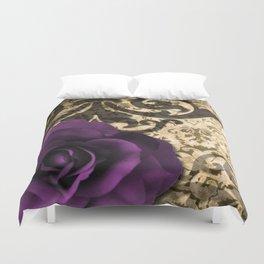 Purple Rose & Vintage Damask Duvet Cover