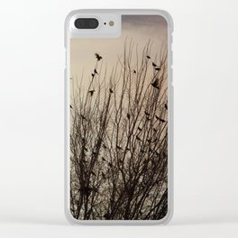 evening flight - photograph of birds at dusk Clear iPhone Case