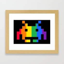 Rainbow Space Invader Framed Art Print
