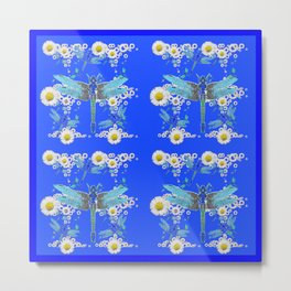 BLUE DRAGONFLIES REPEATING  DAISY FLOWERS  ART Metal Print