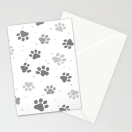 Black, White and Grey Cute Dog Paws Print. Stationery Cards