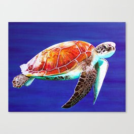 Textured Seaturtle Acrylic Painting Canvas Print