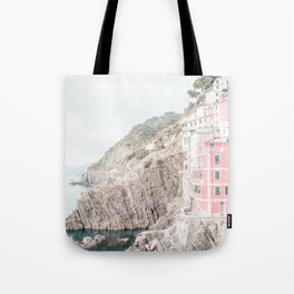 Positano, Italy pink-peach-white travel photography in hd. Tote Bag