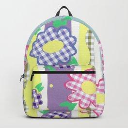 Gingham Floral Spring Stripe by Nettie Heron-Middleton Backpack