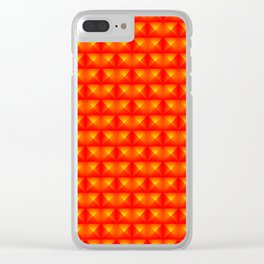 Chaotic pattern of red squares and orange pyramids. Clear iPhone Case
