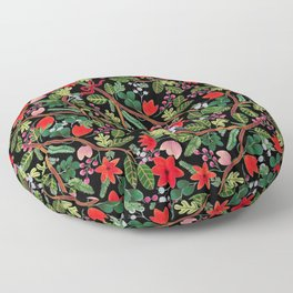 Christmas Floral Black Floor Pillow