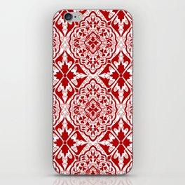 BOHEMIAN PALACE, ORNATE DAMASK: RED and WHITE iPhone Skin