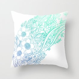 Ocean Flowers Party - Mint & Blue Throw Pillow