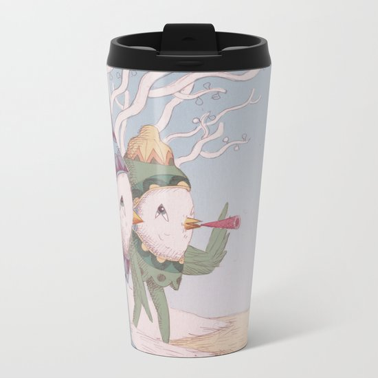 Drummer Bird Leaving Metal Travel Mug