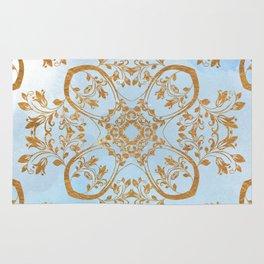 GOLD AND BLUE FLOURISH ORNAMENT MANDALA Rug