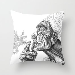 Geometric Graphic Black and White Smoker Drawing Throw Pillow