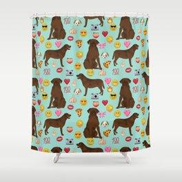 Chocolate lab emoji labrador retrievers dog breed Shower Curtain
