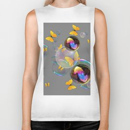 SURREAL YELLOW BUTTERFLIES & SOAP BUBBLES Biker Tank