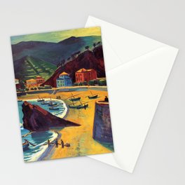 Cinque Terre al Mare Italian Coastline by Hermann Max Pechstein Stationery Cards