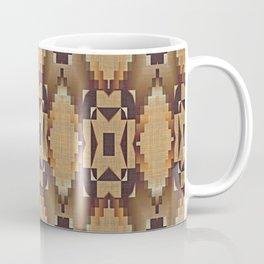 Khaki Tan Orange Dark Brown Native American Indian Mosaic Pattern Coffee Mug