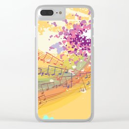 Retro Rainbow and Music Notes Exploding on a Yellow Background Clear iPhone Case