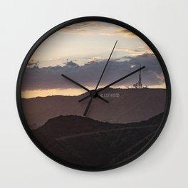 Hollywood Sign at Magic Hour Wall Clock