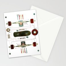The Anatomy of a Skateboard Stationery Cards