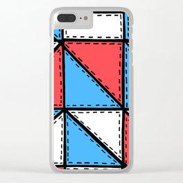 Marker Patchwork – Triangles and Rectangles – Red Blue White Clear iPhone Case
