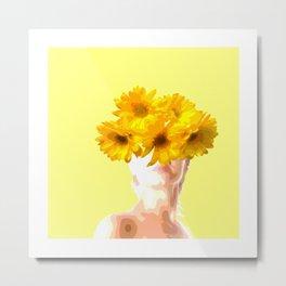 Flower painted lady art Metal Print
