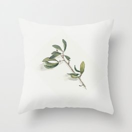 Olive Branch Watercolor Throw Pillow