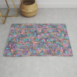 Flower of life pattern - acrylic texture and gold Rug