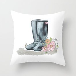 Spring Rain Boots Throw Pillow