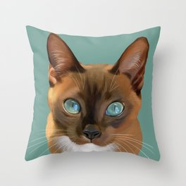 Auburn Cat Throw Pillow